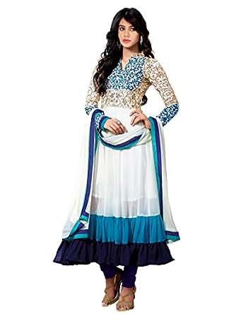 Janasya Women's Georgette Dress Material (HS-DR-009_White)