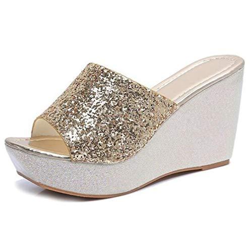 Frauen Sommer Hausschuhe Bling Glitter 8 cm High Heel Wedges Slip On Sandalen Weibliche Pailletten Tuch Freizeit Slingback Casual Sandalen - Paris Slingback
