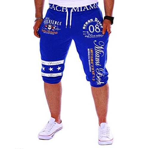 KPILP Herren Sweat-Shorts Cargo Bermuda Chino Kurze Hose(Blau 1,L)