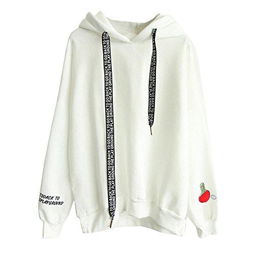 BBring Samt Kapuzenpullover Damen mit Kapuzenpullis Letter Print Sweatshirt Herbst Winter Langarm Pullover (S, Weiß) (Camisole Pullover)