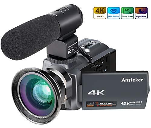 Ansteker Caméscope 4K Vision Nocturne Infrarouge Ultra HD 48MP WiFi Caméra Vidéo Numérique 1080P Full HD 16X Zoom avec Microphone Externe et Objectif à Grand Angle