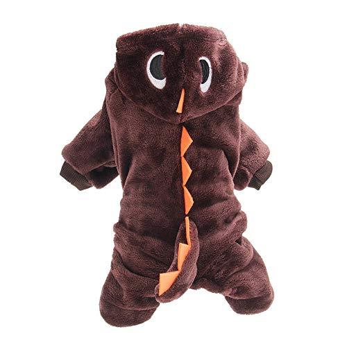 FafSgwq Halloween-Haustier-HundewelpenHoodie Kleidet Nettes Dinosaurier-Partei-Cosplay-Kostüm-nettes Und Lustiges Tier-Set Kaffee XS