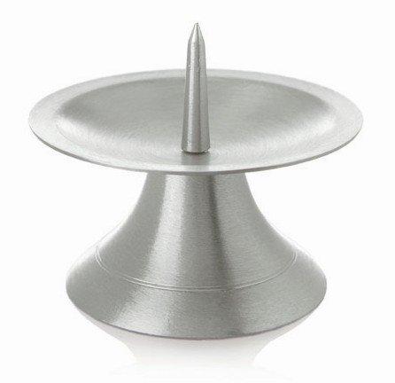 Kerzenhalter (045.1SS) Metalleuchter gebürstet mit Dorn, Silber, 90mm für Taufkerzen, Kommunionskerzen, Konfirmationskerzen, Hochzeitskerzen