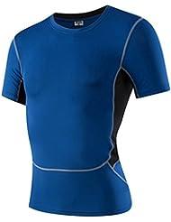 Generación 3 corriendo deportes de los hombres y de la aptitud apretado sudor elástica de mecha camisa de vestir la camiseta 1033 , blue , xxl