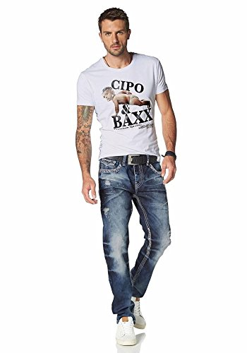 Cipo & Baxx Herren Jeans Jeanshose Hose destroyed Farbflecken Blau