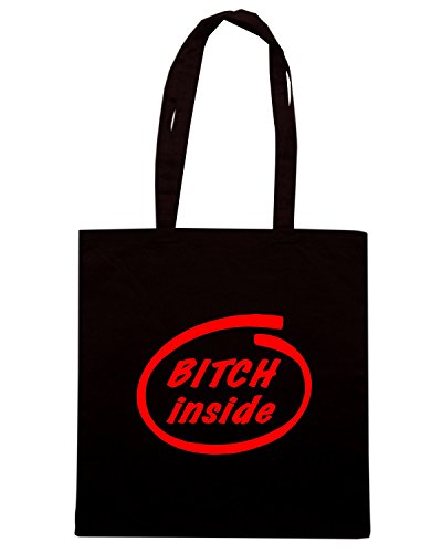 T-Shirtshock - Borsa Shopping FUN0388 809 bitch inside decal 38623 Nero
