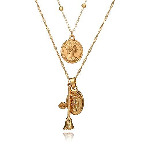 STRASS & PAILLETTES Halskette Multi Rangs Kette Rundhalsausschnitt Gold, Sammlermünze Romaine, Medaille Halskette Jungfrau Maria, Halskette Rose Gold Flower. 3 Halsketten in einem - Maria Von Medaillen