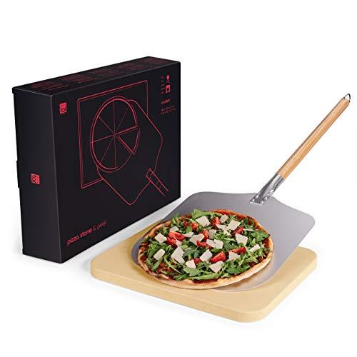 Blumtal Pizza-Stein und Pizzaschieber - Pizzaschaufel & Stein, für Gasgrill und Grill, original Pizzaofen-Material
