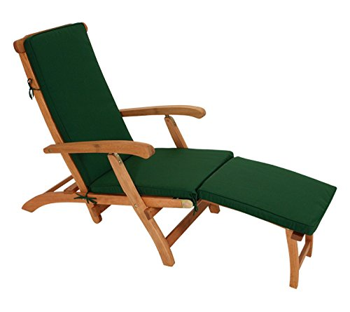 TPFGarden Deckchair Auflage DENVO - 176x48x5cm - Farbton: Dunkelgrün