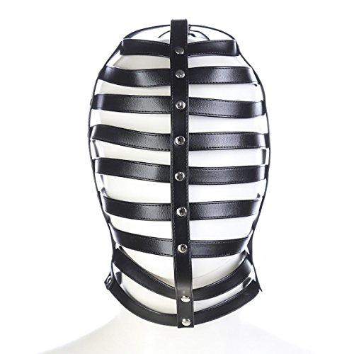 Shawa Kopfmaske Leder Helm Hohl Halloween Party Fechten / Baseball Maske Cosplay Kostüm Dekoration Halloween Show Maske (Fechten Kostüm Schwarz)