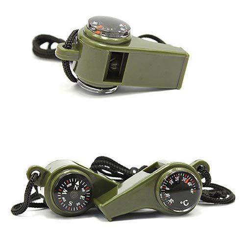 ENticerowts 3-in-1 Notfallausrüstung, Outdoor Camping, Wandern, Notüberlebensausrüstung, Kompass, Thermometer Mehrfarbig