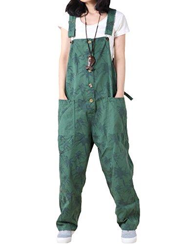 MatchLife Damen Jeans Latzhose Hosen Jumpsuits Style2-Grün