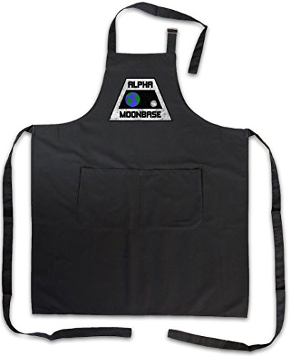 Urban Backwoods Vintage Alpha MOONBASE Logo Grillschürze Kochschürze - Mondbasis Alpha 1 TV Space 1999 T-Shirt Größen S – 5XL (Alpha-schürze)