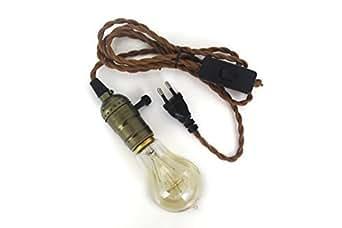 Lampe baladeuse vintage - cable textile torsadé cuivre 2M douille cuivre molette look retro Edison- Lighstyl® - DECL-226