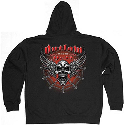 TITAGU Sweatshirtjacke mit Kapuze trendiges Biker-Motiv: Outlaw from Hell - Zip Hoodie - lässiges Design -