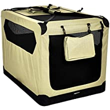 AmazonBasics Premium Folding Portable Soft Pet Crate - 1 m, KHAKI