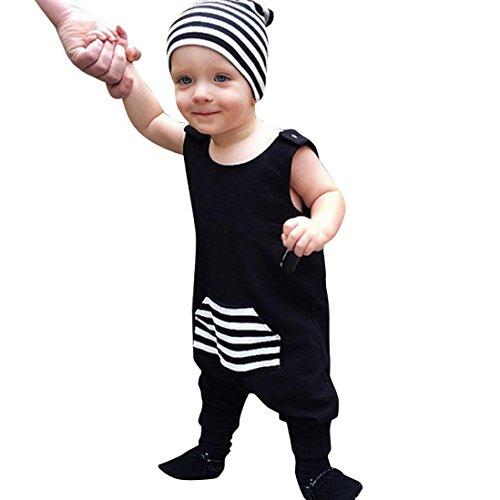Elecenty Babystrampler Strampler Jumpsuit,Neugeborenen Spielanzug Rompers Overalls Unisex Mädchen Jungen Patchwork Taschen Ärmellos Streifen Rundhals Blusen Outfits Sommerbluse (100, Schwarz) (Patchwork-jungen Shorts)