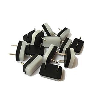 Design61 8 Möbelgleiter Stuhlgleiter Kunststoffgleiter Bodenschutz 30x18 mm mit Nagel und Gummipuffer weiß-schwarz