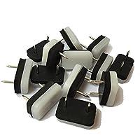 Design618feltrini Sedia gleiter Piedini in plastica protezione del pavimento 30X 18mm con unghie e tampone in gomma bianco nero