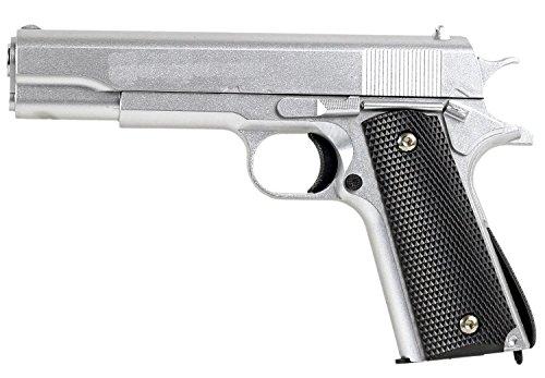 Nerd Clear Softair-Pistole Stahl Waffe Airsoft Vollmetall schwarz Silber 500g schwer ABS 6 mm ca. 22 cm Federdruck unter 0,5 Joule ab 14 Jahre