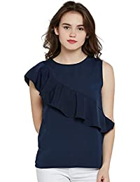 Miss Chase Women's Navy Blue Round Neck Sleeveless Solid Ruffled Top