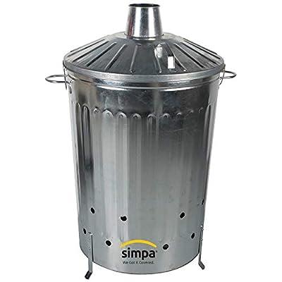 Simpa 2pc Garden Incinerator Bundle 1 X 125l 125 Litre Incinerator 1 X 15l 15 Litre Incinerator - Galvanised Metal Locking Lid Incinerators With Poker Shovel Sets by Simpa