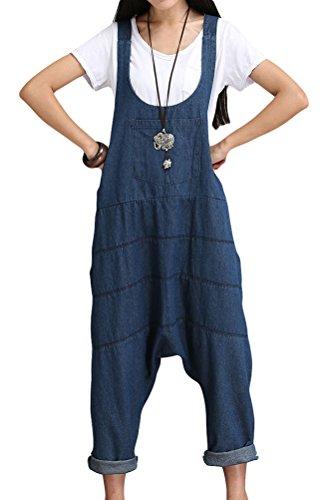 Vogstyle Femme Bretelles Romper Jumpsuit Pantalon de Harem L Bleu Style 1 Vogstyle