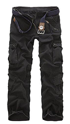Brinny 2016 Neue Beiläufigen Herren Cargo Hose im Freien Multitasche Tarnung Pants Skateboard Sommer Dünnen Abschnitt Camo Hosen Lange Beine (ohne Gurt) Schwarz