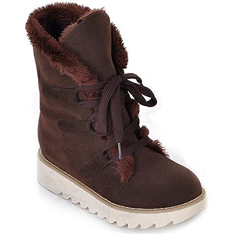Minetom Mujer Otoño E Invierno Plano Botines Calentar Pelaje Botas De Nieve Atada Zapatos