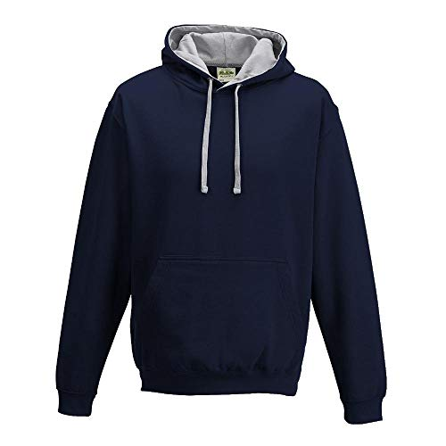 Just Hoods - Unisex Varsity Hoodie - 2-farbiger Kapuzenpullover 4XL,New French Navy/Heather Grey -