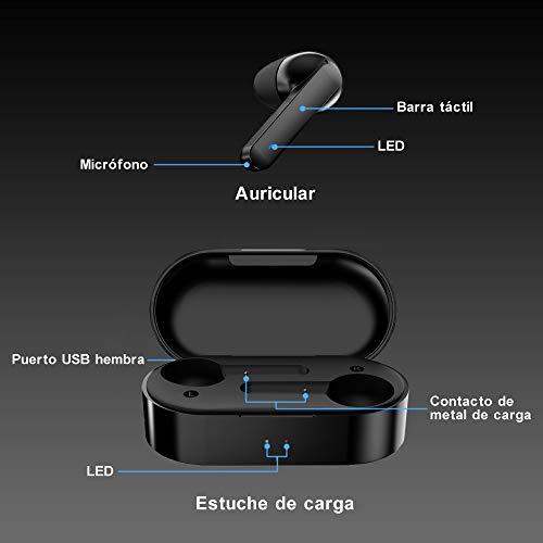 Auriculares Bluetooth 5.0,  HOMSCAM Impermeable Auriculares Inalámbricos Bluetooth QCY HiFi Mini Twins Estéreo In- Ear Bluetooth con Caja de Carga Portátil para iPhone y Android con Micrófonos