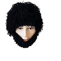 LUOEM Peluca Barba Sombreros Mascara de Barba de Punto Gorras de Invierno cálido Máscara Gruesa para Hombres (Gris)