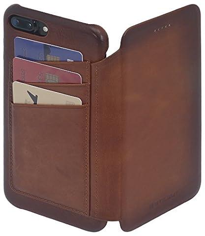 StilGut Book Type Premium vintage, étui en cuir porte-cartes pour iPhone 7 Plus | housse en cuir avec porte-cartes au dos pour iPhone 7 Plus, cognac antique