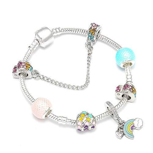 YCWDCS Armband Süß niedlich Regenbogen anhänger DIY Charme Armband mit Regenbogen Murano perlen DIY Marke Armband für Frauen schmuck Geschenk (Niedliche Halloween Outfits Für Frauen)