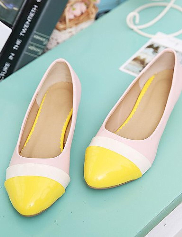 PDX/shoeswedge de las mujeres talón punta Toe/cerrado Toe Flats oficina y carrera/vestido/casual amarillo/rojo...