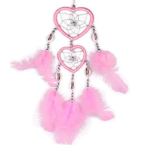 H.W.T Kleine Handgefertigte Traumfänger Traditionelle Dreamcatcher Herz Form Design Style Feder Auto/Wand Hängende Dekoration Ornament Rose