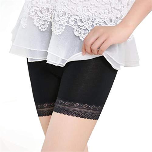 Heiße Sexy Stiefel (WooCo Sommer Sale Damen Slip Shorts Plus Size Kurze Leggings Mittlere Taille Spitze Heiße Hose Elastische Sporthosen Hosen Unterhosen(Schwarz a,XXL))