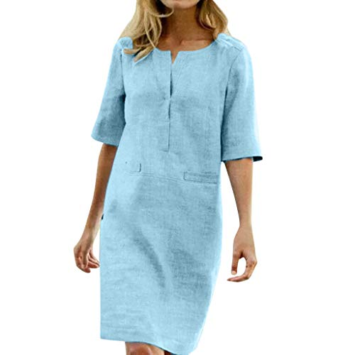 Floweworld Damen 1/2 Ärmel Baumwollkleider Lässige Soild Knielange Gerade Kleider Sommer Büro Sommerkleid mit Tasche