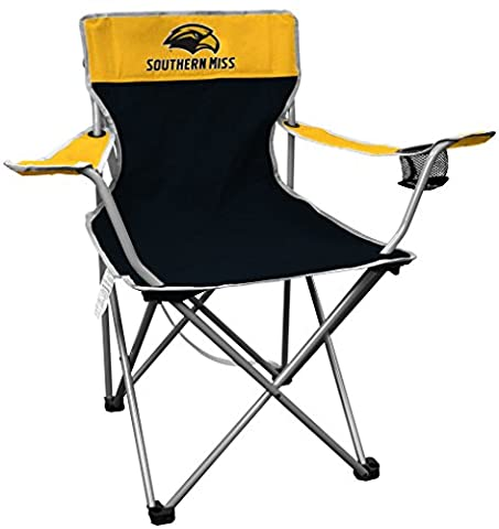 NCAA Southern Mississippi Golden Eagles Kickoff Quad Folding Chair, Black, 250 lb