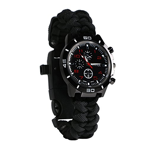 Survival Armband Armbanduhr 6 in 1 Tactical Notfall Uhr mit Paracord Pfeife Fire Starter Scraper Kompass und Thermometer Gear in schwarz