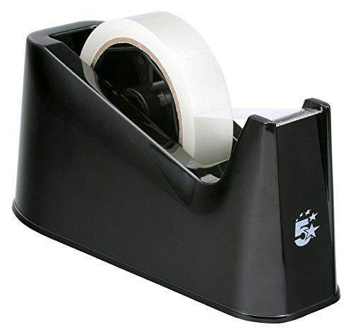5 Star Tape Dispenser Desk Weighted Non-slip Capacity 25mm Width Black - Ref 920136