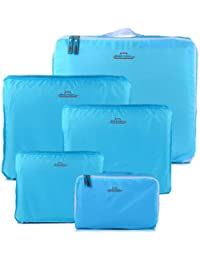 HOMEBASICS: 5 In 1 Sky Blue Easy Travel Bag Organizer, Set Of 5 Bags Assorted Sizes - Sky Blue Color