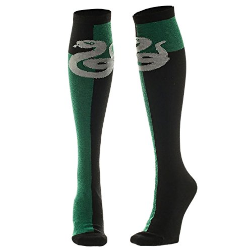 Harry Potter Slytherin calcetines hasta la rodilla cresta verde negro 39-42 de serpiente