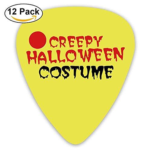 (Gitarrenplektren aus Zelluloid, ideales Geschenk für Gitarristen und Mandolinen, bedruckt, gruseliges Halloween-Kostüm mit Augapfel, 0,46 mm/0,73 mm/0,96 mm, 12 Stück)