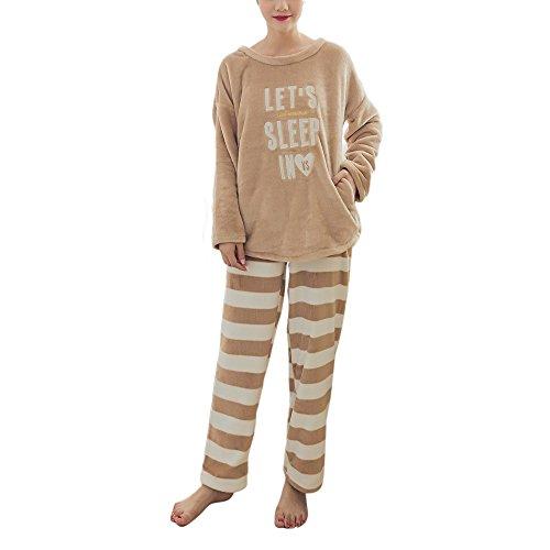 Dihope Jumpsuit Buchstaben Druck Hausanzug Streifen Schlafanzug Nachtwäsche für Damen und Herren (Streifen-damen-flanell)