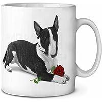 Bull Terrier cane con rosa rossa Tazza