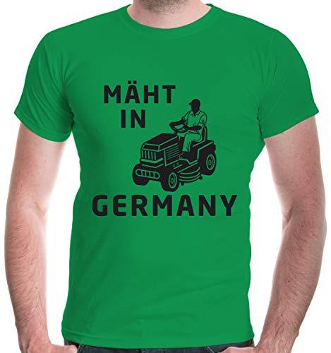 buXsbaum® Herren T-Shirt Mäht in Germany | Rasenmäher Garten | L, Grün