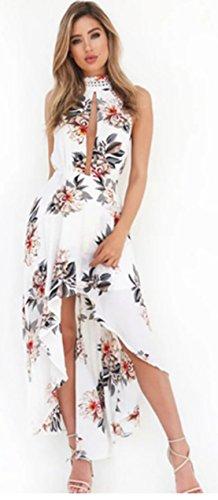 YALI (Hals hängenden Seite Schlitz Kleid L weiß - Drucken Seite Schlitz Rock