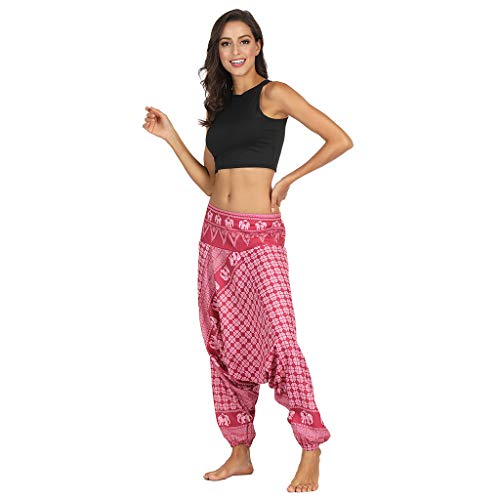 Damen Wide Leg Boho Harem Pants Lattice Print Elastic Waist Baggy Pant Loose Plus Size Yoga Palazzo Cropped Trousers with Pockets