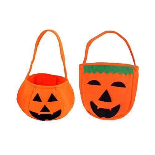 Ohighing Halloween Kürbis Tasche Betteltaschen Kinder Candy Bag Süßigkeiten Sammeltasche Beutel,2pcs